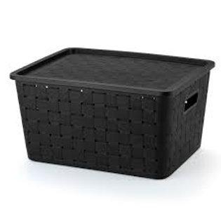 Caixa prática rattan 29lts preto