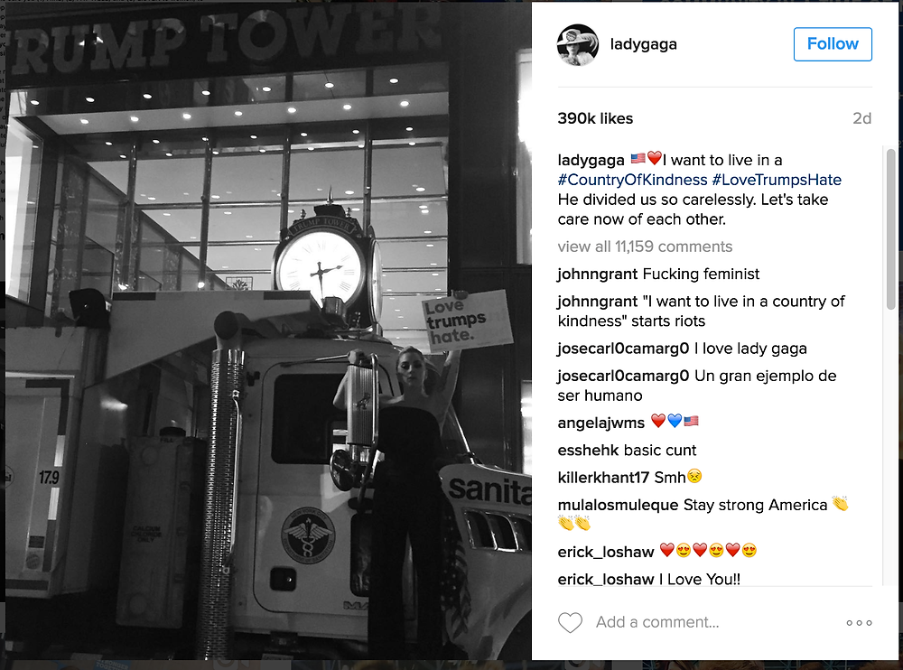 Celebrity singer Lady Gaga receives interesting comments after expressing her political views on Instagram.