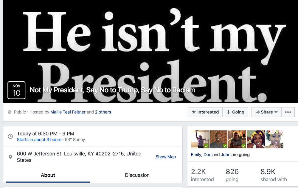 Facebook event invite that brought hundreds of Anti-Trump voters out on Thursday night following Election Tuesday.
