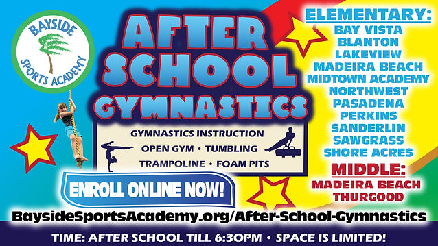 After School Gymnastics Schools Selected: Elementary: Bay Vista, Blanton, Lakeview, Madeira Beach, Midtown Academy, Northwest, Pasadena, Perkins, Sanderlin, Sawgrass, and Shore Acres; Middle: Madeira Beach and Thurgood