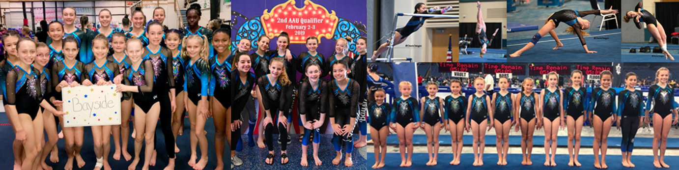 girls competitive gymnastics team collage