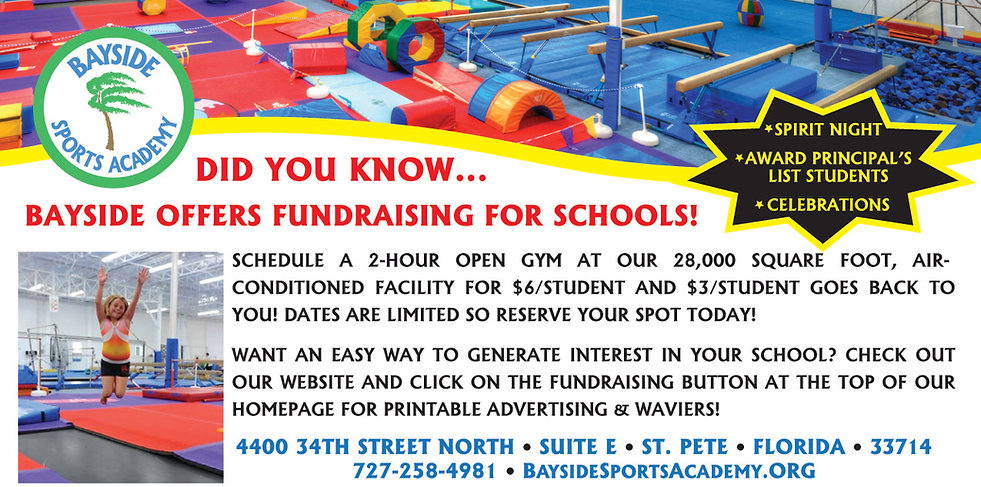 School Fundraising & Spirit Night is available with Bayside Sports Academy