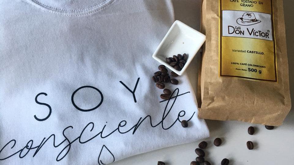 kit cafetero/Camiseta ecológica+libra de café