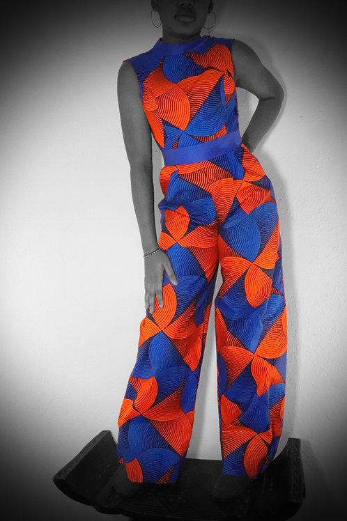 Orange & Blue Jumpsuit