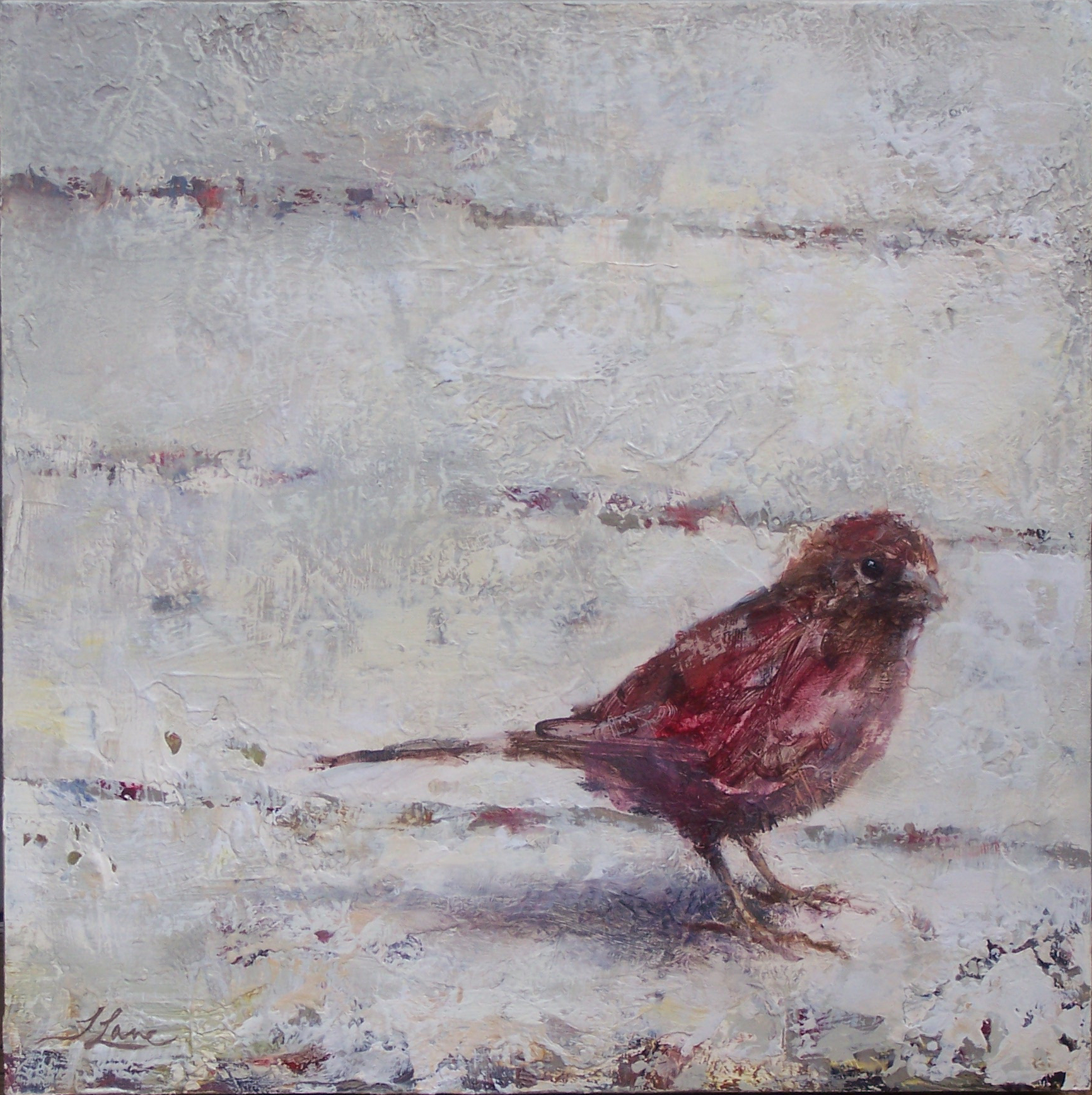 "Backyard Bird II, 12"" x 12"""