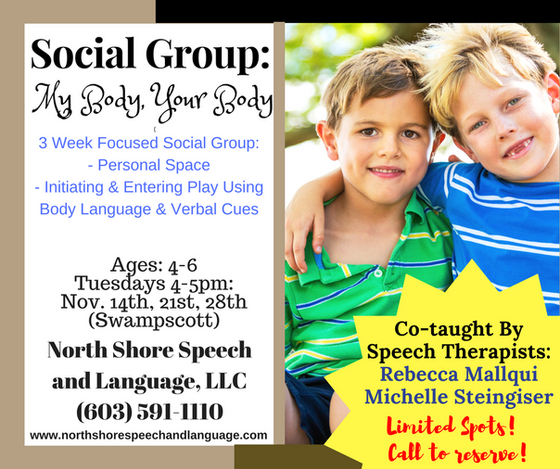 "Introducing 3 Week Social Group: ""My Body, Your Body!"""