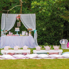 Kids luxe picnic table princess party garden
