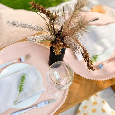 Romantic picnic at home