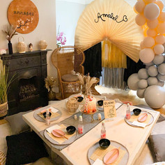 Sushi Japan party luxe indoor picnic bespoke fan tassels luxury bespoke balloon installation setup