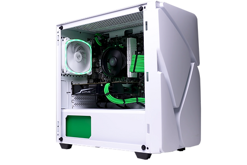 Budget White/Green Gaming PC (Ryzen 5 1500x + RX 560 4GB)