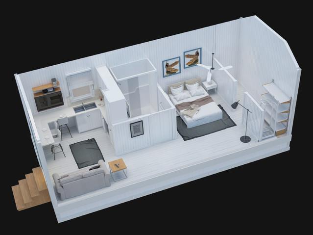 Mobile house, trailer-type RV