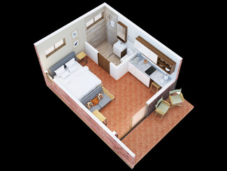 Residential mini cabin 3d plan