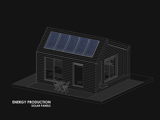 Solar Panels - Green wall - Small Eco House Design