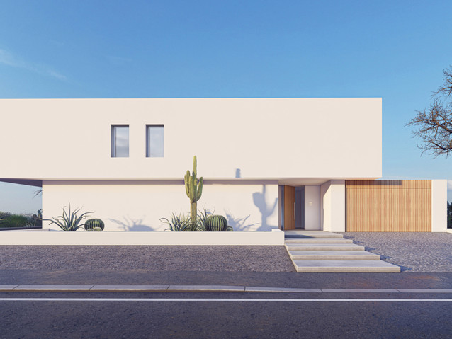 Modern minimalist villa design for a couple offers private and common spaces. The common spaces will be used by guests who will be hosted at the villa upper floor in the four rentable rooms. The guests' rooms include private bathrooms and sharing a living space, a kitchen and a deck that has a small pool.