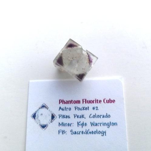 Sharp Included Purple Phantom Fluorite Cube