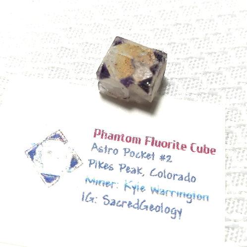 Iron Included Purple Phantom Fluorite Cube