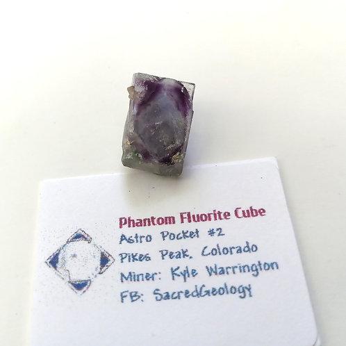 Green + Purple Phantom Fluorite Cube