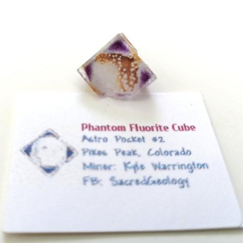Sharp Iron Included Phantom Fluorite Cube