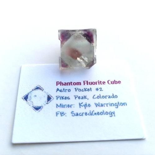 Purple Phantom Fluorite Cube