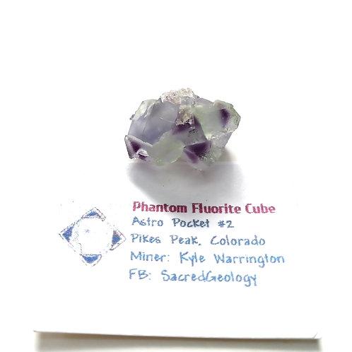 Twin Purple Phantom Fluorite Cube