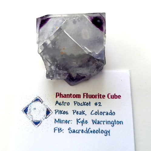 Purple Phantom Fluorite Cube