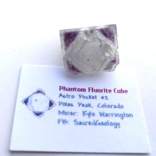Square Pattern Purple Phantom Fluorite Cube