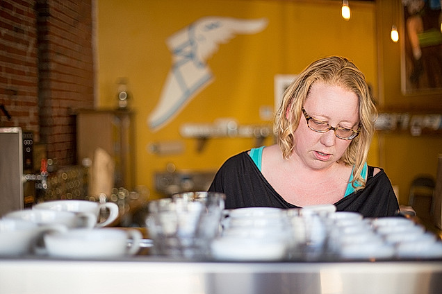 Holly making actual coffee 2015.jpg