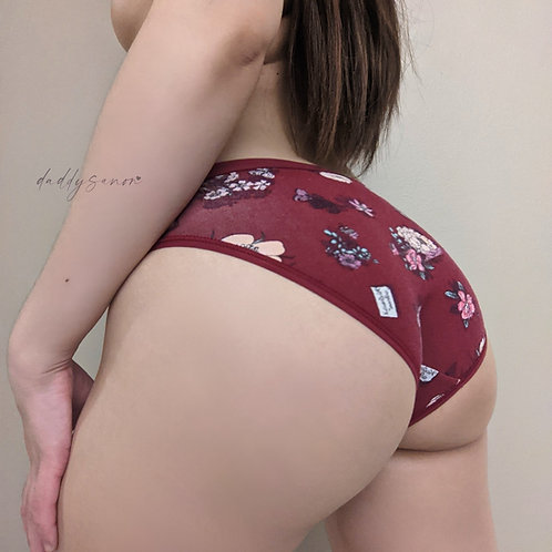 Maroon cotton panties with floral pattern