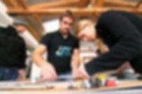 Skibau Workshop Kante an den Belag kleben