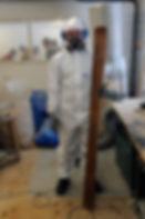 Skibau Schleifen vom Holzkern in der Werkstatt