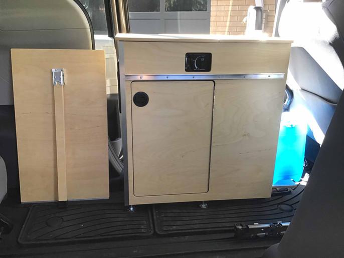 Toyota, Honda minivan camper kitchen