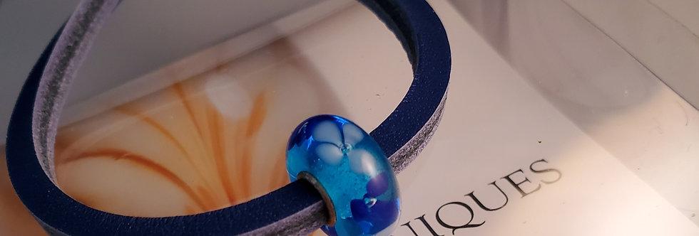 Unique Leather Bracelet, Blue - Blue Bead