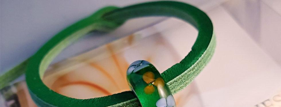 Unique Leather Bracelet, Mint - Green Bead