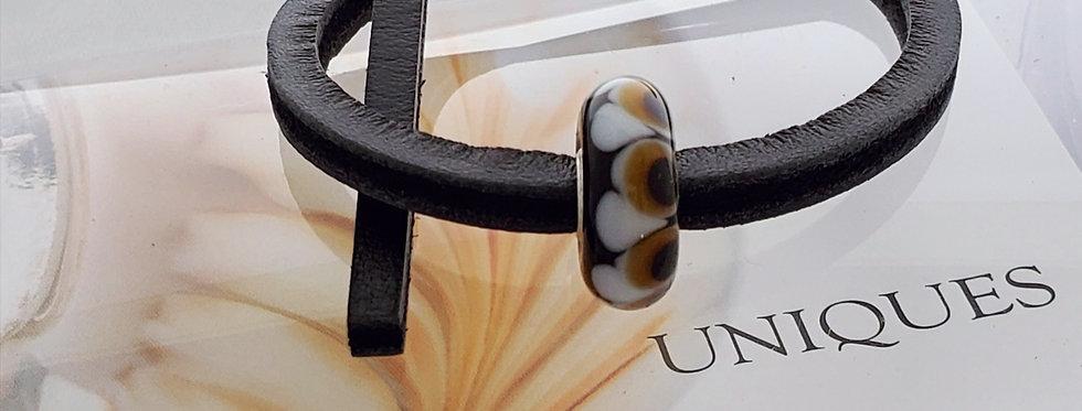 Unique Leather Bracelet, Black Pepper - Brown Bead