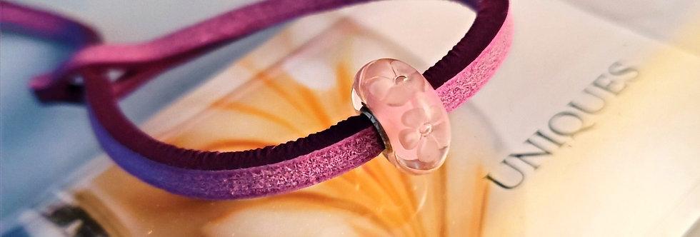 Unique Leather Bracelet, Sumac - Pink Bead