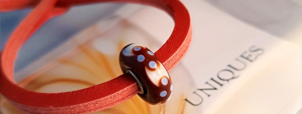 Unique Leather Bracelet, Red - Different Bead
