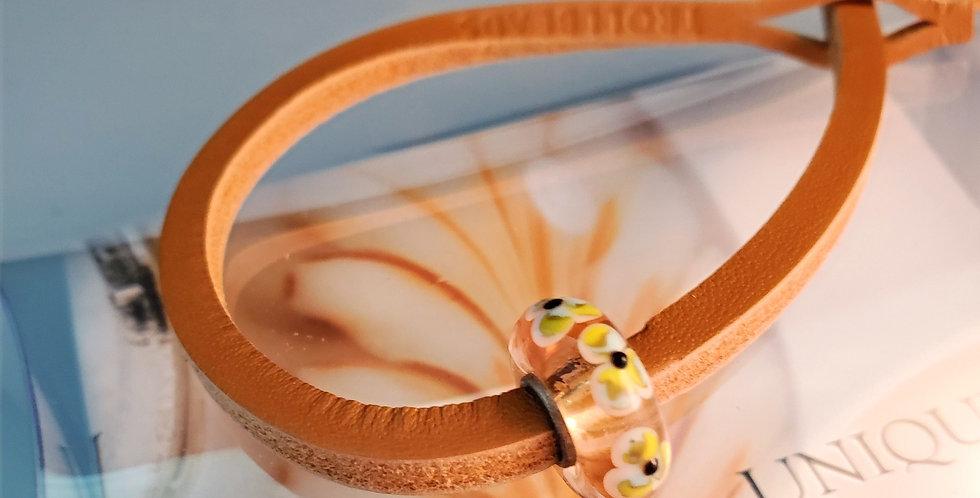 Unique Leather Bracelet, Mustard