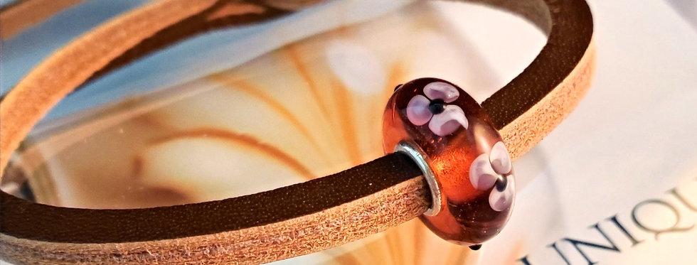 Unique Leather Bracelet, Brown - Different Bead