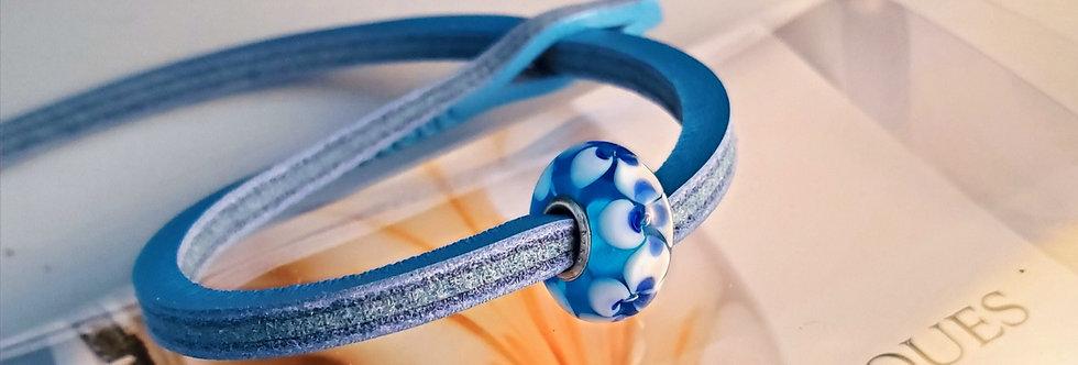 Unique Leather Bracelet, Borage