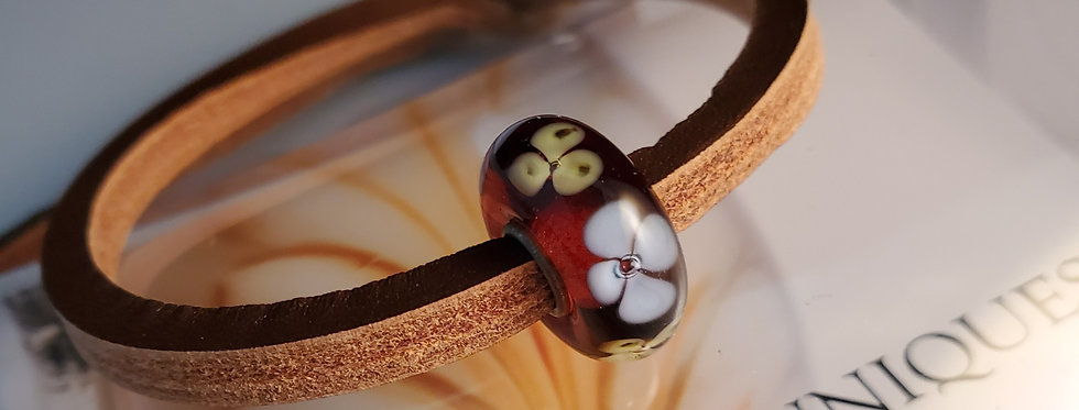 Unique Leather Bracelet, Brown- Dark Red Bead