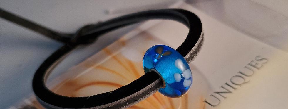 Unique Leather Bracelet, Black Pepper - Blue Bead