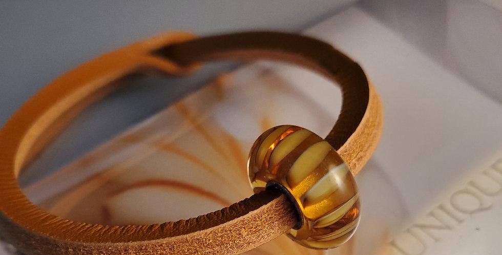 Unique Leather Bracelet, Mustard - Stripe Bead