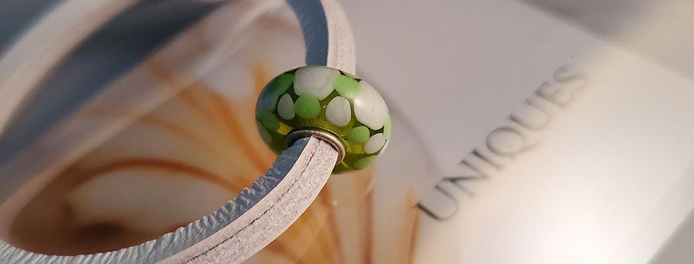 Unique Leather Bracelet, Sea Salt - Green Bead