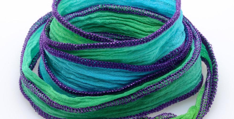 Turq/Green Purple Silk Wrap