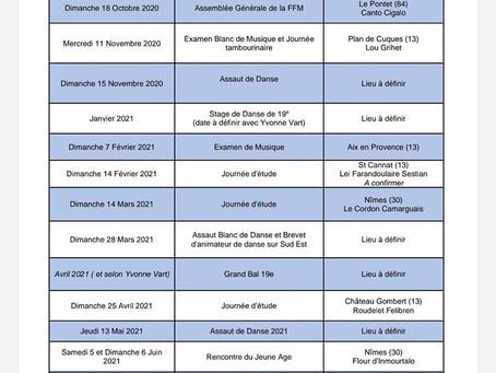 Calendrier fédéral de la F.F.M. 2020-2021