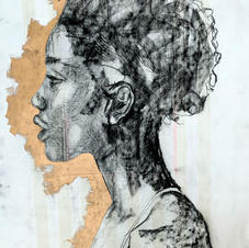 €500.00 Charcoal and Gold Leaf on Reeves BFK Cotton Rag
