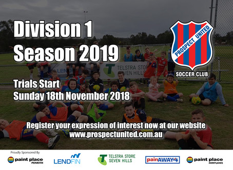 Division 1 Players - Season 2019 Expressions of Interest