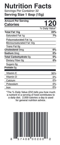 Smude's Sunflower Oil Nutriton Label