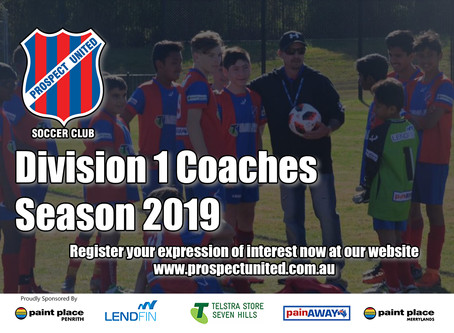 Division 1 Coaches - Season 2019. Expressions of Interest