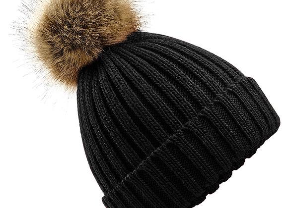 Faux Fur Pom Pom Chunky Beanie - Black
